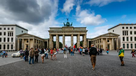berlin skyline : People Walking in front of Brandenburg Gate in Berlin, Time Lapse, Germany