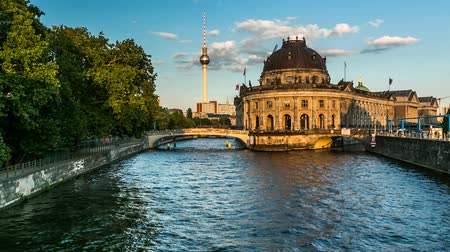 pergamon : Museum Island on Spree River and Alexanderplatz TV Tower, Timelapse Video, Berlin, Germany
