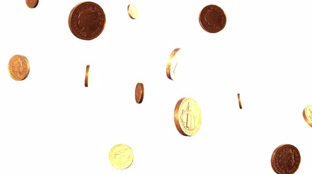 монета : Rotating pound coins raining down against a white background.