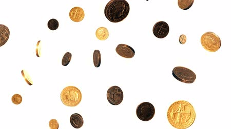 esterlino : Seamless Loop of Falling Pound Coins Against a White Background.