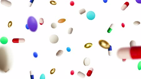 dispensary : Colored Pills Raining Down Against a White Background Stock Footage