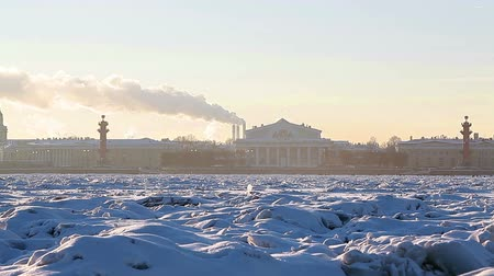 saintpetersburg : View on arrow of Vasilevsky island with Rostral Columns and Old Stock Exchange from the Neva River in winter, St. Petersburg. Focus on the city buildings Stock Footage