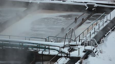 ścieki : Sections of aeration tanks in water treatment plant Wideo