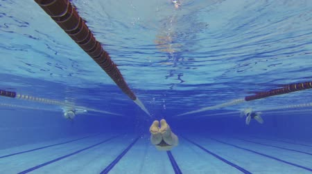 sportsmen : Sportsman swimming in swimming pool under water Stock Footage