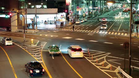 citiy : TOKYO, JAPAN - CIRCA APRIL: Timelapse of night roads with traffic of Tokyo city, Japan Stock Footage