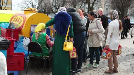 beer house : SERGIEV POSAD, RUSSIA - CIRCA APRIL: A kvass street vendor in St. Sergius Lavra during the Easter, Sergiev Posad, Russia