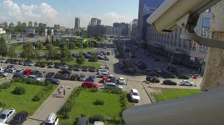vista frontal : Time lapse view from video camera in front of car moving on city streets, moving picture Stock Footage