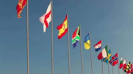 all european flags : All countries national flags waving on flagpole on blue sky background. Nobody Stock Footage