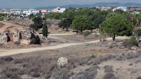 archeological : Tombs of the King showplace review in Pafos city, Cyprus. People walking on ancient ruins Stock Footage