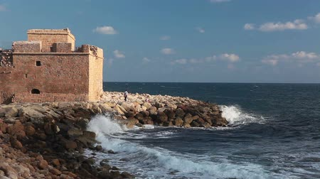 ciprus : Review of Paphos Castle on Mediterranean seashore in Cyprus island, Paphos city