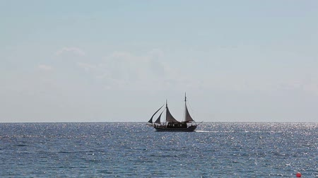 velkolepý : Two-masted sail ship sailing on the Mediterranean sea, Cyprus