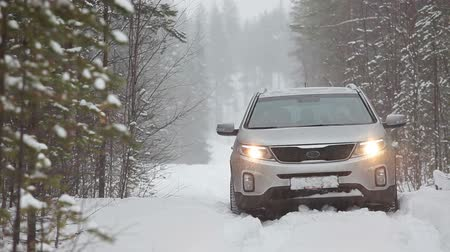 pneus : Vehicle is slipping in snow at winter season. Deep forest and no one to help Stock Footage