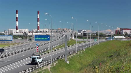 saintpetersburg : Turning to the highway route at city ringroad, Saint-Petersburg, Russia Stock Footage
