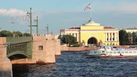 saintpetersburg : Many kind of ships passing under Palace bridge at Neva river, Saint-Petersburg, Russia