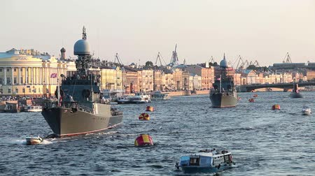 saintpetersburg : Camera zoom out from military ships on Neva river, Saint-Petersburg, Russia. Day of Russian Navy