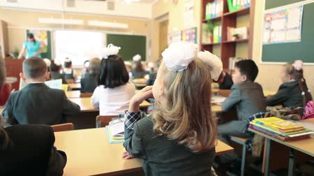 first class : First grader girl sitting at the desk in class at school. September 1. Rear view. Russia