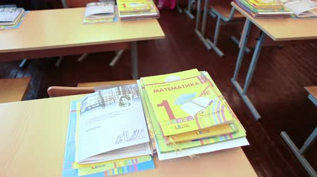 initial : ABC-book and primary books on the school desk in classroom, September, 1 in Russia