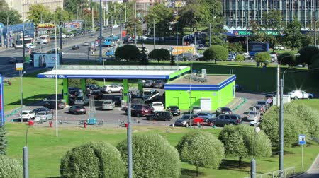 saintpetersburg : Timelapse of city gas station at summer, St Petersburg, Russia
