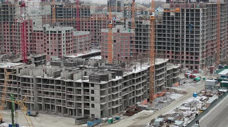 основа : New district in Saint-Petersburg city with buildings under construction, Russia Стоковые видеозаписи