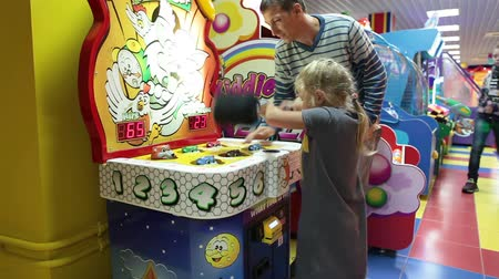 arcada : Hit the hamster funny game with father`s help. Coin-operated machine