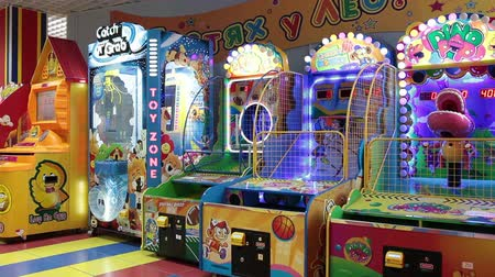 vending machine : Colorful coin-operated machines are in children gaming zone