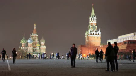 greatest : People walking on Red Square at night in Moscow, Russia Stock Footage