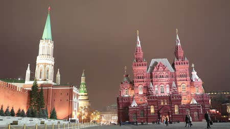 greatest : View of Kremlin with state Historical Museum on Red Square at night in Moscow, Russia Stock Footage