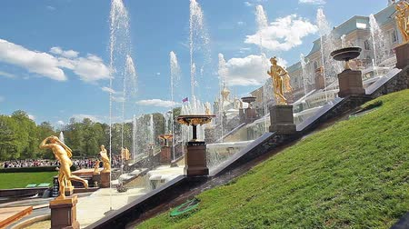 saintpetersburg : Main cascade of fountains with golden statues in Peterhof, Russia. The Palaces, Fountains, and Gardens of Peterhof Grand Palace in Saint-Petersburg, Russia