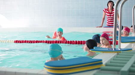 juventude : Kids taking off swim boards and preparing for next exercices in swimming pool