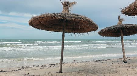 kumlu : Storm the Mediterranean Sea and palm-leaf parasols on the beach in strong winds. Monastir, Tunisia