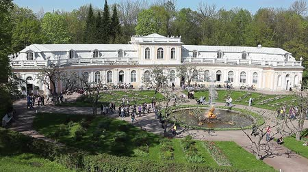 triton : Greenhouse fountain and large stone greenhouse in the park of Petrodvorets. top view