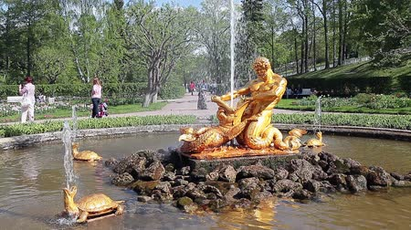 triton : Gilt group: the mighty Triton, tearing open the jaws of a sea monster, and the four turtles, addressed to the cardinal, is located in the center of a greenhouse garden in the eastern part of the Lower Park, Peterhof, Russia