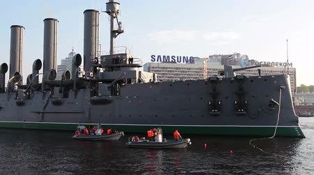 hawser : ST. PETERSBURG, RUSSIA - SEPT, 21, 2014: The Cruiser Aurora, St. Petersburg, Russia