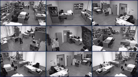 bezpieczeństwo : Office surveillance cameras view, nine in one, people at work, black-and-white Wideo
