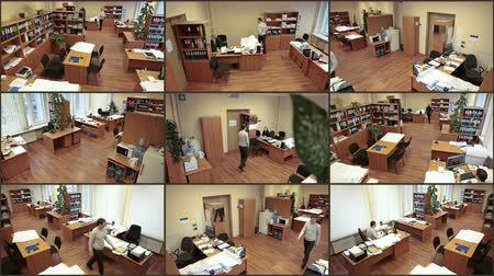 při pohledu na fotoaparát : Office surveillance cameras view, nine in one, people at work