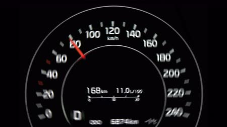 mph : Digital speedometer of car driving with acceleration, arrow pointer up to 140 kmh, shaking when gearing