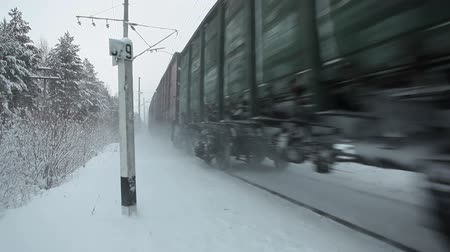 bas : Close passing head engine of Russian freight train at winter railroad, Russia