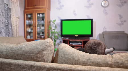 kutu : Young boy laying on sofa and watching tv on led green screen, rear view