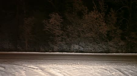 wayside : Car driving to the exit of highway from roadside. Night, winter. The Kola route in the Kondopoga, Karelia, Russia Stock Footage