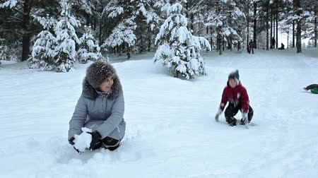 throwing in : Mother and son throwing snow each other in winter forest Stock Footage