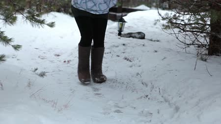fur boots : Woman wearing grey felt boots going pathway of rural yard at winter season Stock Footage