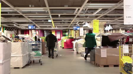 self storage : SAINT-PETERSBURG, RUSSIA - CIRCA JAN, 2015: Interior of Ikea marketplace, camera moving. Ikea multinational group is the worlds largest furniture retailer. Russian store