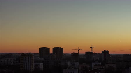saintpetersburg : Beautiful sunset with blue and orange colors sky, city skyline. Saint-Petersburg, Russia. Time lapse, 4k  HD