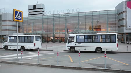 cancellation : YEKATERINBURG, RUSSIA - CIRCA JUL, 2015: Entrance and bus stop are in  Koltsovo Airport square. Koltsovo International Airport is the international airport in Sverdlovsk Oblast