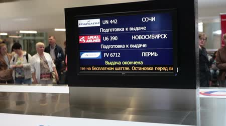 reclaim : ST. PETERSBURG, RUSSIA - CIRCA JUL, 2015: Baggage carousel and information board with flight number are in arriving lounge of airport terminal. The Pulkovo is an International airport in Russia Stock Footage