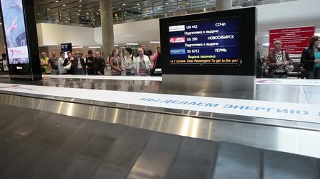 reclaim : ST. PETERSBURG, RUSSIA - CIRCA JUL, 2015: One level baggage carousel and information board are in arriving lounge of airport terminal. The Pulkovo is an International airport in Russia
