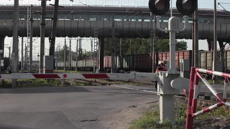 úroveň : ST. PETERSBURG, RUSSIA - CIRCA JUN, 2015: Freight train passes railway crossing with closed barriers. Guarded railroad crossing is in city streets