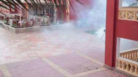 komary : HURGHADA, EGYPT - CIRCA NOV, 2015: Staff uses a fogging machine for mosquitos killing on the hotel area. Mosquito control for around with dispersing liquid chemicals over large areas is in resorts