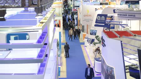 demirli : MOSCOW, RUSSIA-CIRCA DEC, 2015: Exhibition hall with arrangement of stands is on the Metal-Expo 2015. Metal and Steel Market, the 21st International Industrial Exhibition was in the All-Russia Exhibition Center