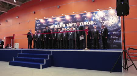 demirli : MOSCOW, RUSSIA-CIRCA DEC, 2015: Speech of officials is at the opening ceremony the Metal-Expo 2015. Metal and Steel Market, the 21st International Industrial Exhibition was in the VDNKH Stok Video
